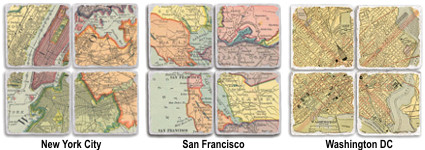 Vintage and Antique Tile Map Coasters