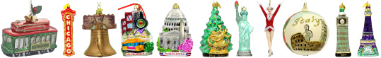 International Destination Glass Christmas Ornaments