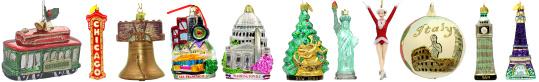 International Destination Glass Christmas Ornaments