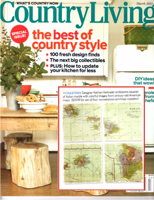 US Cities & Statues and International Countries & City Map Coasters featured in Country Living Magaing