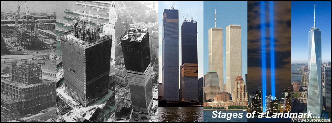 Stages of Twin Towers, Tribute in Light and Freedom Tower