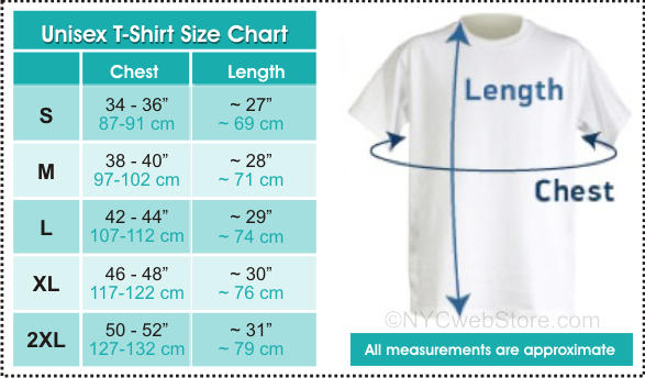 New York T-Shirt Size Chart for I Love NY T-Shirts and Other NYC Shirts